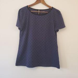 Ann Taylor LOFT blue and purple polka dot L